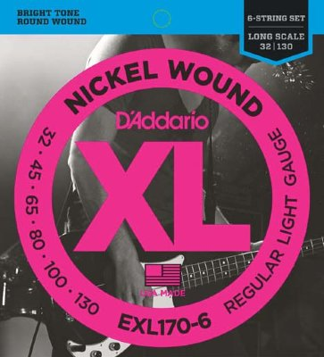 32-130 D`Addario EXL170-6 Nickel Wound Electric Bass