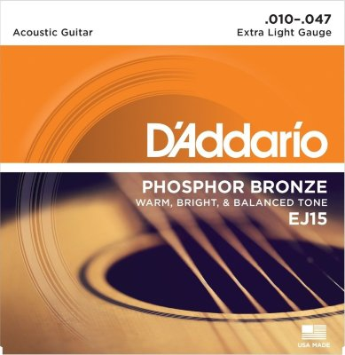 10-47 D'Addario EJ15 Phosphor Bronze Extra Light Gauge