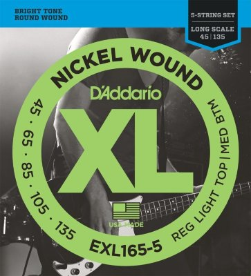 45-135 D`Addario EXL165-5 Nickel Bass Medium