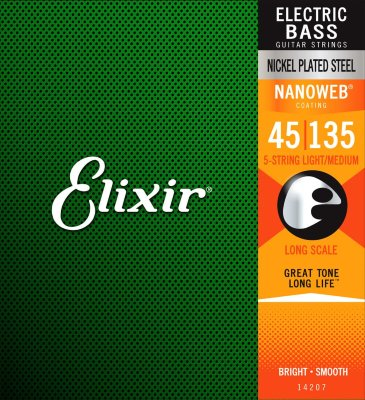45-135 Elixir 14207 5-string Nanoweb Light/Medium Bass