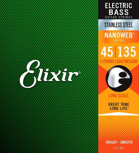 45-135 Elixir 14782 5-String Nanoweb Stainless Steel Light/Medium Bass