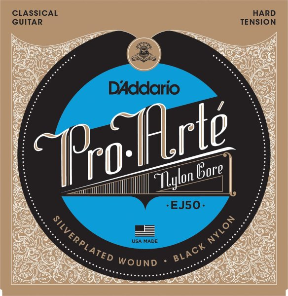 28-44 D'Addario EJ50 Pro Arte Black Nylon Core Silverplated Hard Tension